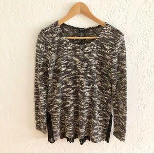 Alfani Marled Sweater Back Button & Ruffle Detail